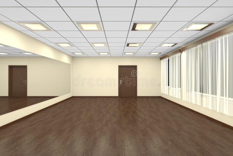 Κενή χορός-αίθουσα κατάρτισης τη νύχτα με τους κίτρινους τοίχους και το σκοτεινό wo απεικόνιση αποθεμάτων