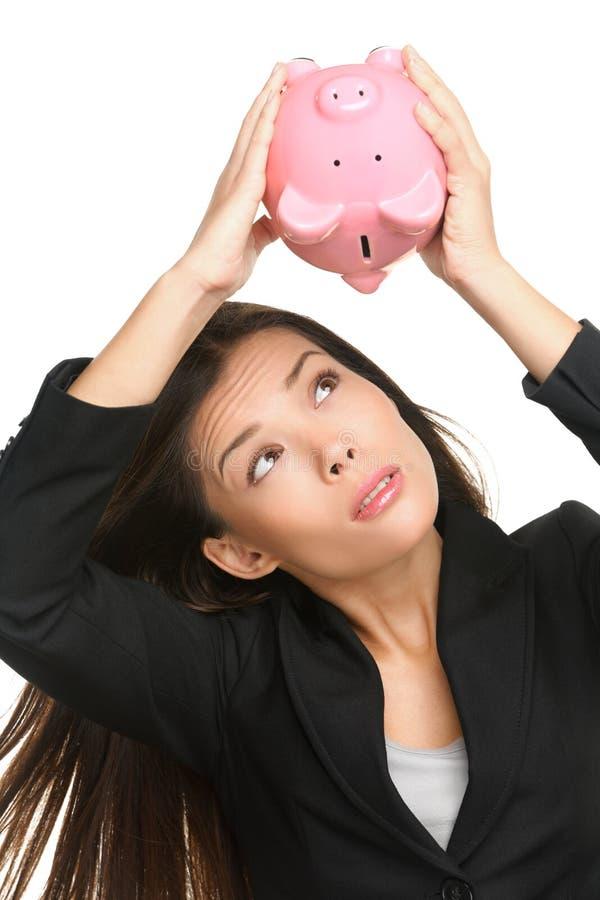 Κενή piggy τράπεζα - χρέος και πτώχευση χρημάτων στοκ φωτογραφία