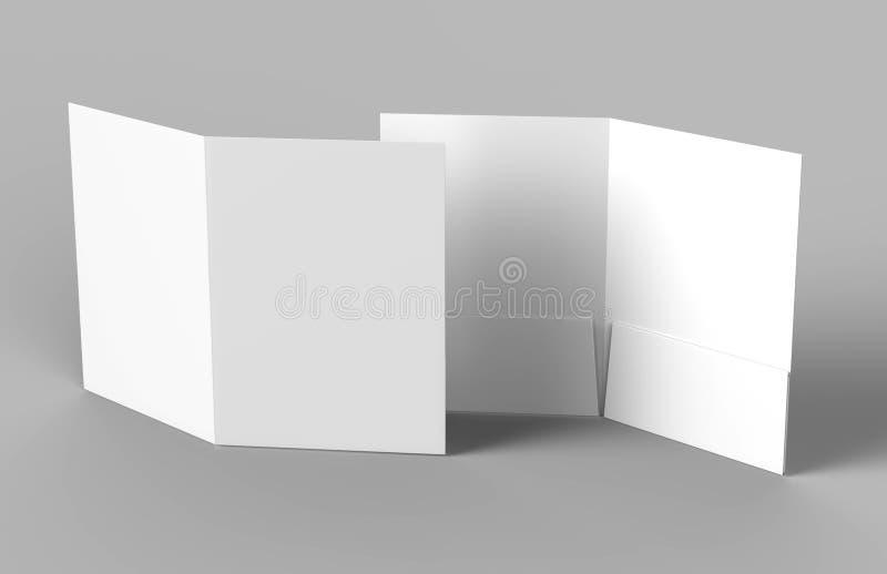 Κενοί άσπροι ενισχυμένοι φάκελλοι τσεπών στο γκρίζο υπόβαθρο για τη χλεύη επάνω τρισδιάστατη απόδοση διανυσματική απεικόνιση