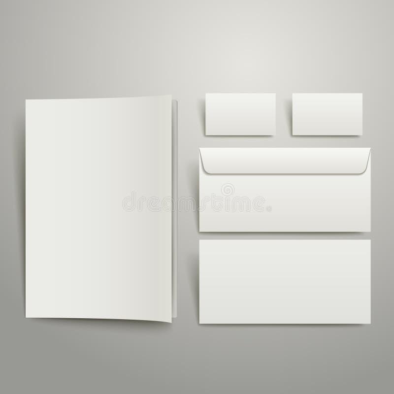 Κενοί επαγγελματική κάρτα και φάκελλος φακέλων διανυσματική απεικόνιση