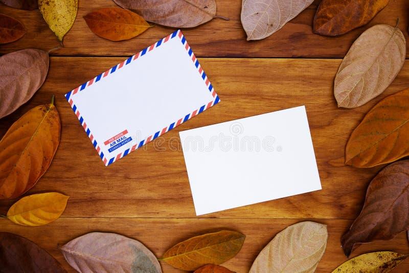 Κενοί κάρτα και φάκελος στο θερμό ξύλινο υπόβαθρο στο πορτοκαλί πλαίσιο φύλλων Κενή κάρτα στο εποχιακό ντεκόρ φθινοπώρου στοκ φωτογραφίες με δικαίωμα ελεύθερης χρήσης
