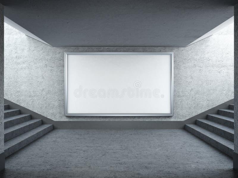Κενοί πίνακας διαφημίσεων και σκάλα υπόγεια ελεύθερη απεικόνιση δικαιώματος