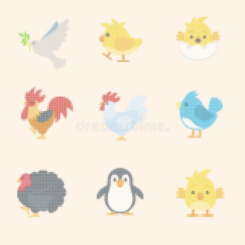 Κεντημένος από τη διαγώνια βελονιά Σύνολο emoji, emoticons διανυσματική απεικόνιση