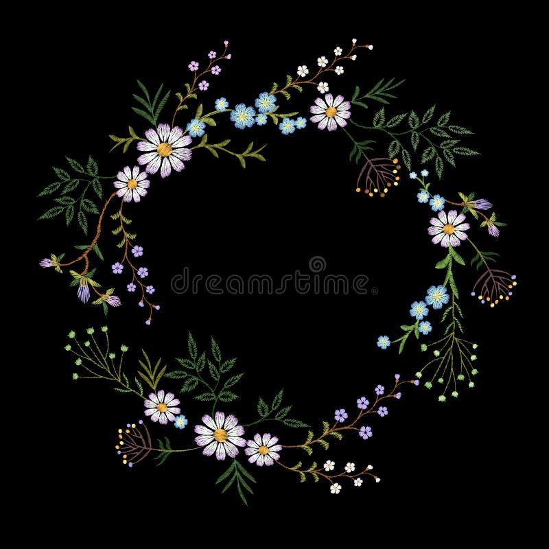 Κεντημένο τρύγος στεφάνι λουλουδιών Κομψή λεπτή τυπωμένη ύλη διακοσμήσεων σχεδίου μόδας απεικόνιση αποθεμάτων