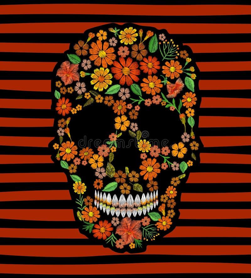 Κεντητικής κρανίων μεξικάνικο μπάλωμα σύστασης λουλουδιών προσώπου πορτοκαλί Η υφαντική τυπωμένη ύλη κέντησε τη βελονιά Dia de Lo ελεύθερη απεικόνιση δικαιώματος