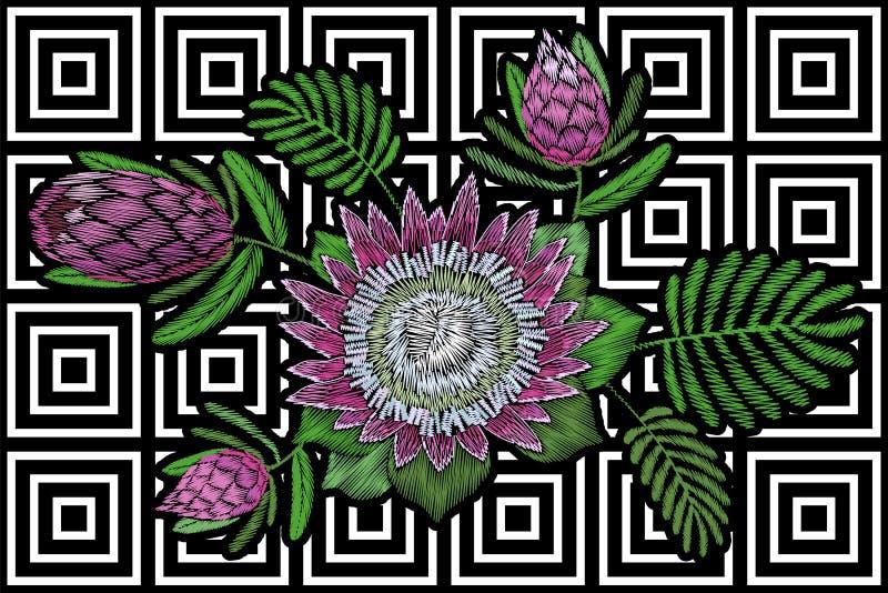Κεντητικής floral άνθος protea μπαλωμάτων τροπικό Ρόδινη λουλουδιών εξωτική φύλλων μόδας βελονιά διακοσμήσεων τυπωμένων υλών υφαν ελεύθερη απεικόνιση δικαιώματος