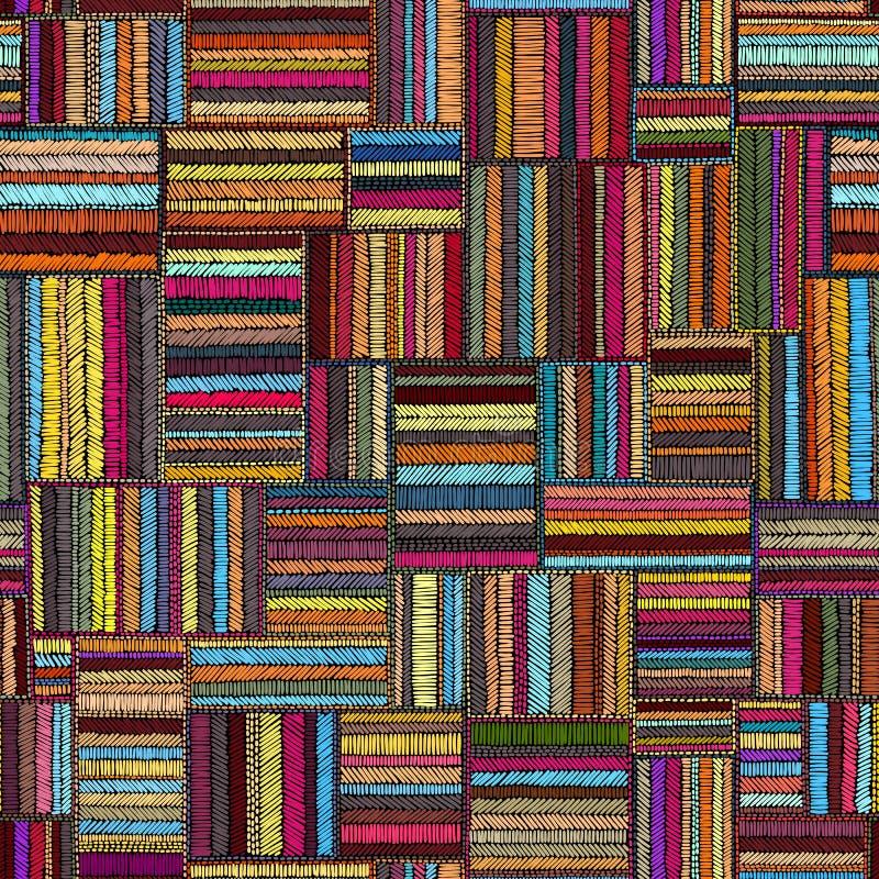 Κεντητική - άνευ ραφής διακόσμηση Χρωματισμένες γραμμές σε ένα μαύρο backgro ελεύθερη απεικόνιση δικαιώματος