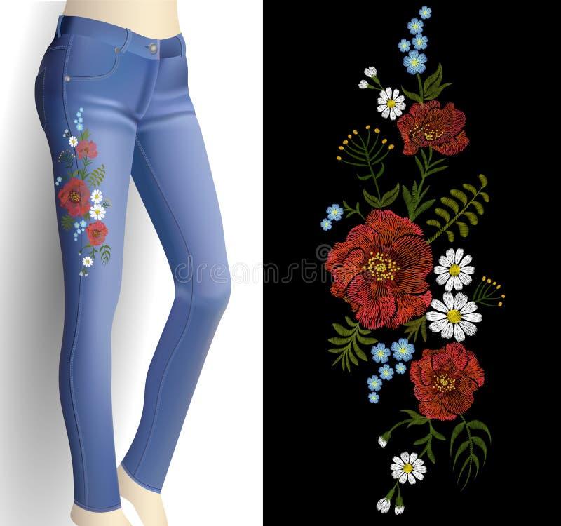 Κεντητική λουλουδιών στο τρισδιάστατο πρότυπο τζιν παντελόνι γυναικών Η λεπτομέρεια εξαρτήσεων μόδας αυξήθηκε διανυσματική απεικό ελεύθερη απεικόνιση δικαιώματος