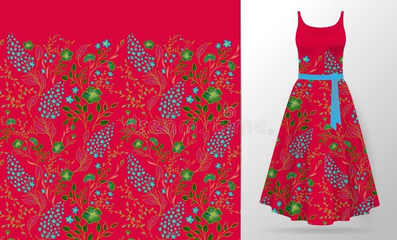 Κεντητική λουλουδιών στη χλεύη φορεμάτων επάνω Ρεαλιστικά τρισδιάστατα διανυσματικά ενδύματα γυναικών απεικόνισης μπαλωμάτων διακ ελεύθερη απεικόνιση δικαιώματος
