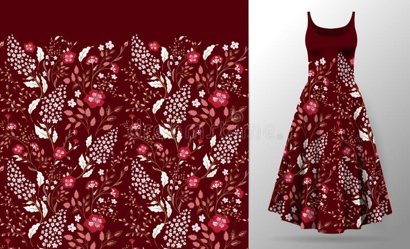 Κεντητική λουλουδιών στη χλεύη φορεμάτων επάνω Ρεαλιστικά τρισδιάστατα διανυσματικά ενδύματα γυναικών απεικόνισης μπαλωμάτων διακ απεικόνιση αποθεμάτων