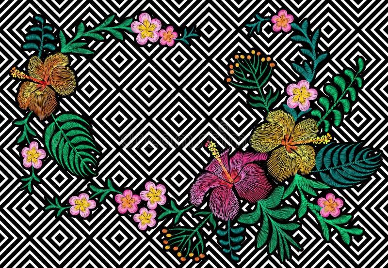 Κεντητική λουλουδιών στο μαύρο άσπρο άνευ ραφής υπόβαθρο λωρίδων Hibiscus plumeria διακοσμήσεων τυπωμένων υλών μόδας φύλλα φοινικ διανυσματική απεικόνιση