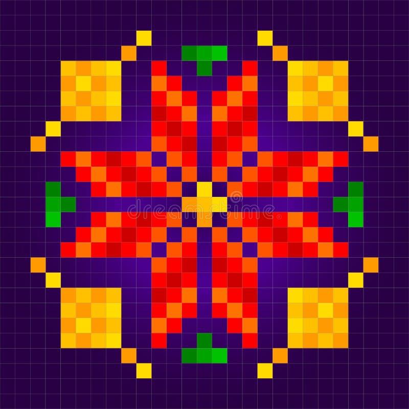 Κεντητική Σχέδιο του φωτεινού ερυθρού λουλουδιού Λαϊκή τέχνη r απεικόνιση αποθεμάτων