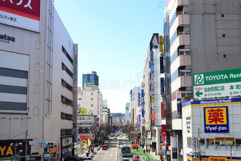 Κεντρική άποψη 2018 πόλεων της Ιαπωνίας Σεντάι στοκ φωτογραφία