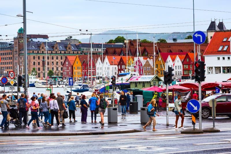 Κεντρική άποψη πόλεων του Μπέργκεν, Νορβηγία με Bryggen στοκ εικόνα