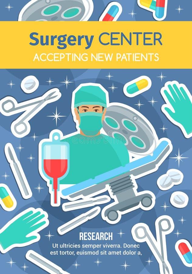 Κεντρική ιατρική διαφήμιση νοσοκομείων χειρουργικών επεμβάσεων απεικόνιση αποθεμάτων