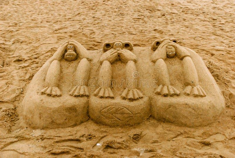 Κεντρική παραλία της Βαρκελώνης άμμος και σύγχρονη αρχιτεκτονική στοκ εικόνες με δικαίωμα ελεύθερης χρήσης