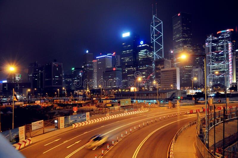 Κεντρική σκηνή νύχτας του Χογκ Κογκ στοκ φωτογραφία