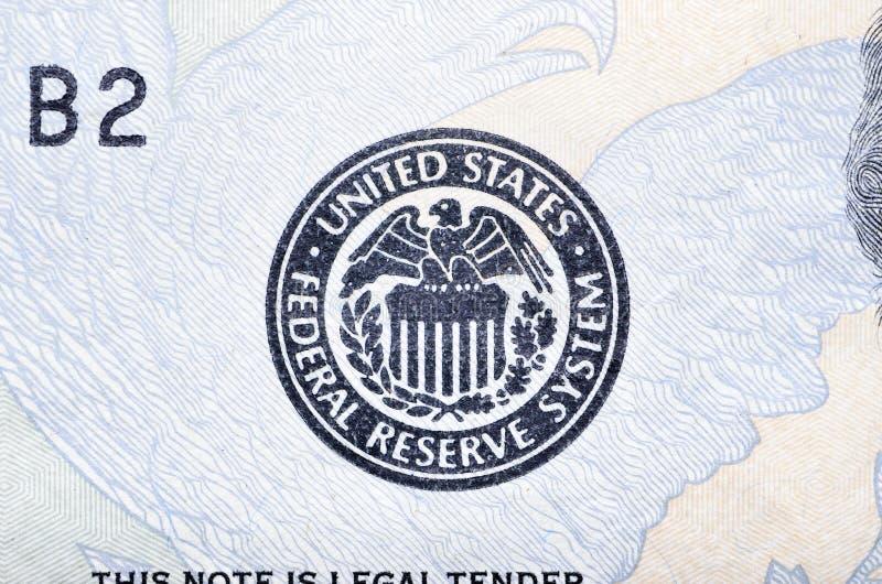 Κεντρική τράπεζα των ΗΠΑ εμβλημάτων στοκ εικόνες
