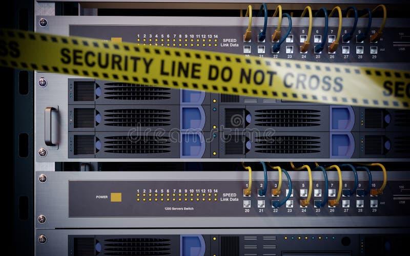 Κεντρικοί υπολογιστές και έννοια ασφάλειας τεχνολογίας υπολογιστών δωματίων υλικού διανυσματική απεικόνιση