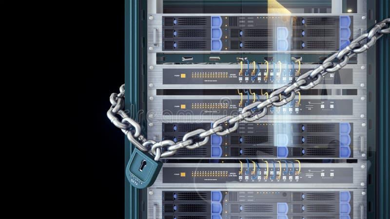 Κεντρικοί υπολογιστές και έννοια ασφάλειας τεχνολογίας υπολογιστών δωματίων υλικού απεικόνιση αποθεμάτων