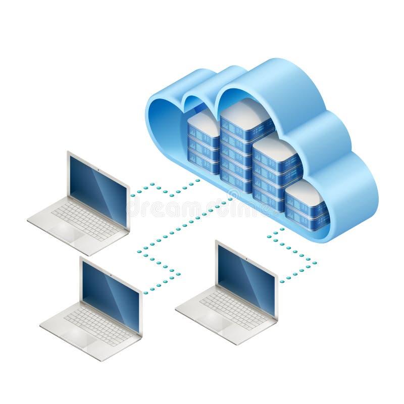 Κεντρικοί υπολογιστές στο σύννεφο και τα lap-top απεικόνιση αποθεμάτων