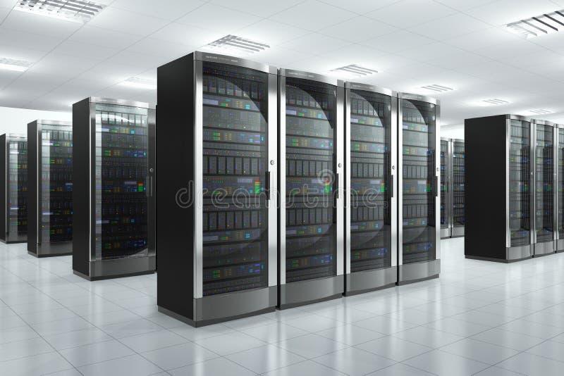 Κεντρικοί υπολογιστές δικτύων στο datacenter ελεύθερη απεικόνιση δικαιώματος