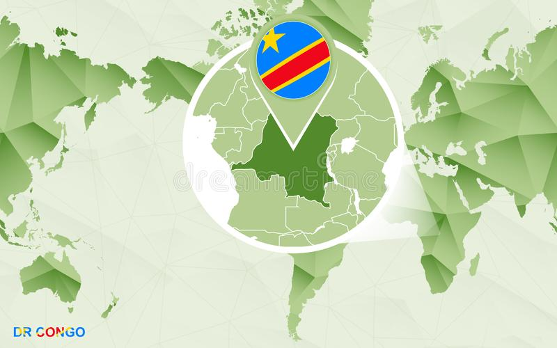 Κεντρικός παγκόσμιος χάρτης της Αμερικής με ενισχυμένος το ΔΡ χάρτης του Κονγκό απεικόνιση αποθεμάτων