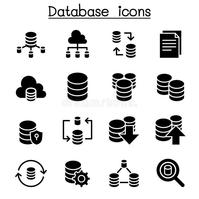 Κεντρικός υπολογιστής, βάση δεδομένων, φιλοξενία, διανομή, σύνολο εικονιδίων υπολογισμού σύννεφων απεικόνιση αποθεμάτων