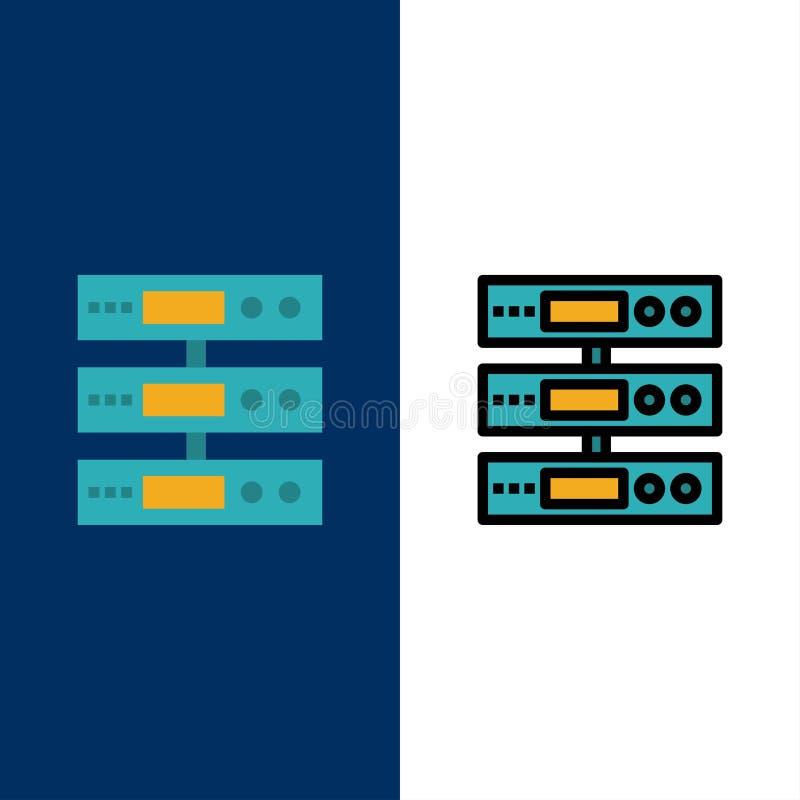 Κεντρικός υπολογιστής, στοιχεία, αποθήκευση, σύννεφο, εικονίδια αρχείων Επίπεδος και γραμμή γέμισε το καθορισμένο διανυσματικό μπ απεικόνιση αποθεμάτων