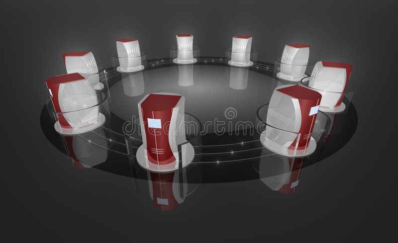 κεντρικός υπολογιστής 9 ραφιών v1 διανυσματική απεικόνιση