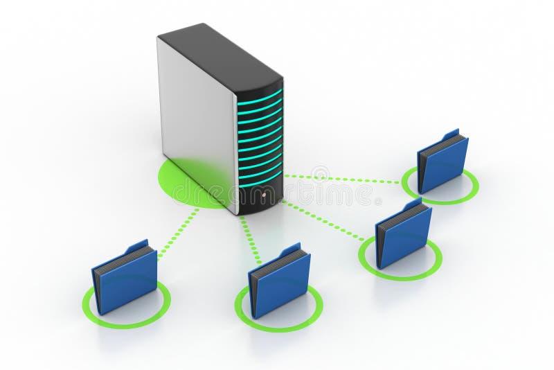 Κεντρικός υπολογιστής με το φάκελλο αρχείων διανυσματική απεικόνιση