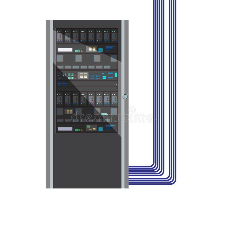 Κεντρικός υπολογιστής υπολογισμού σύννεφων κέντρων δεδομένων Βάση δεδομένων αποθήκευσης στοιχείων επίσης corel σύρετε το διάνυσμα διανυσματική απεικόνιση