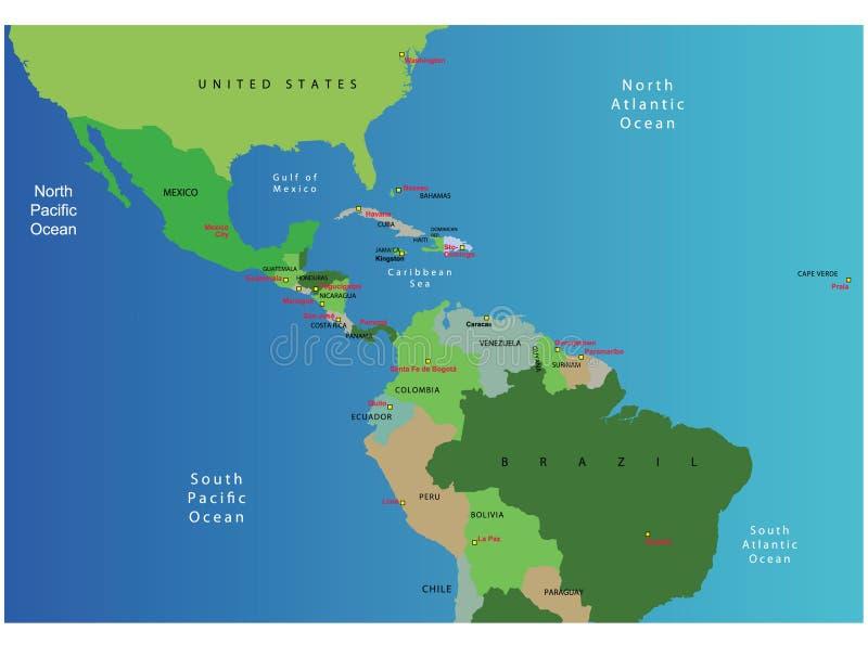 κεντρικός χάρτης της Αμερ&io διανυσματική απεικόνιση