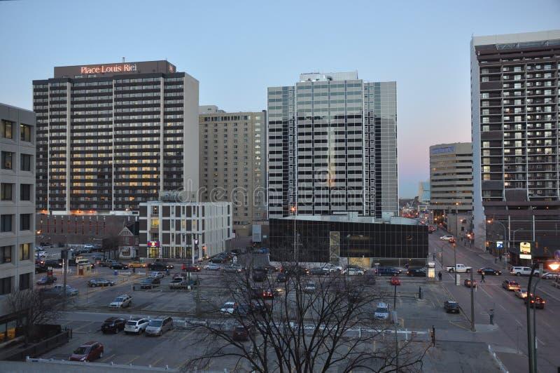 Κεντρικός Winnipeg το βράδυ στοκ φωτογραφίες με δικαίωμα ελεύθερης χρήσης