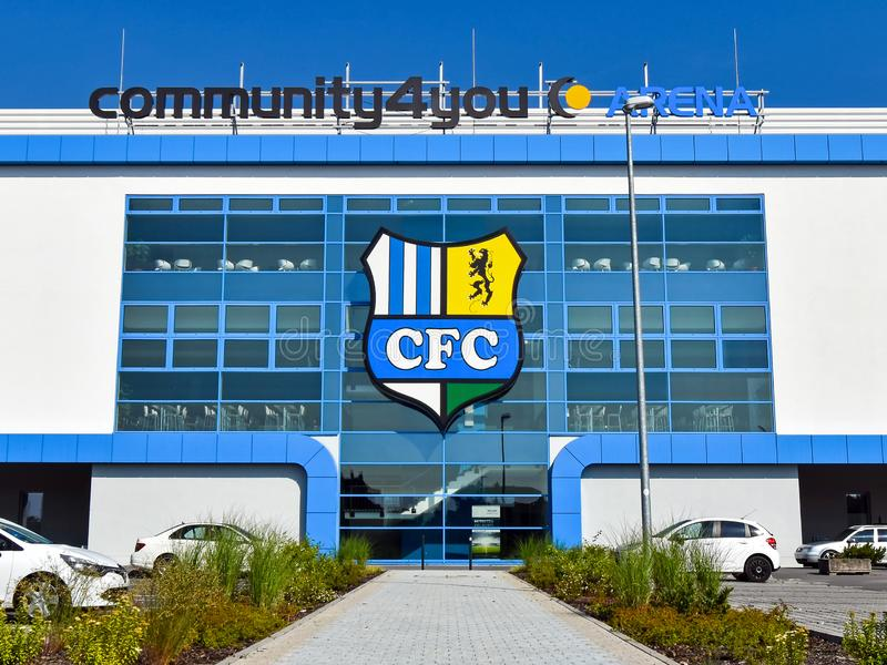 Κεντρικό κτίριο του σταδίου ποδοσφαίρου CFC Chemnitzer FC Chemnitz Γερμανία στοκ φωτογραφία