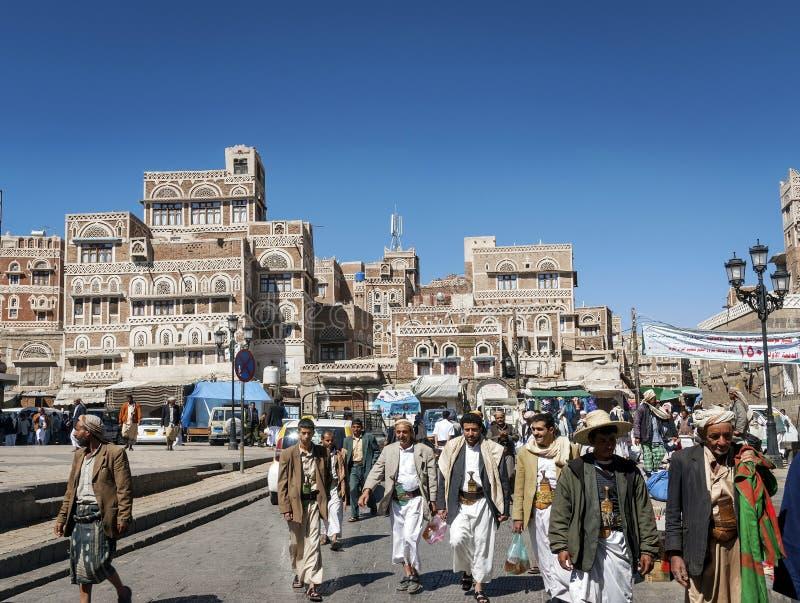 Κεντρικό sanaa τετραγωνικό ορόσημο αγοράς κωμοπόλεων πόλεων παλαιό στην Υεμένη στοκ φωτογραφία με δικαίωμα ελεύθερης χρήσης