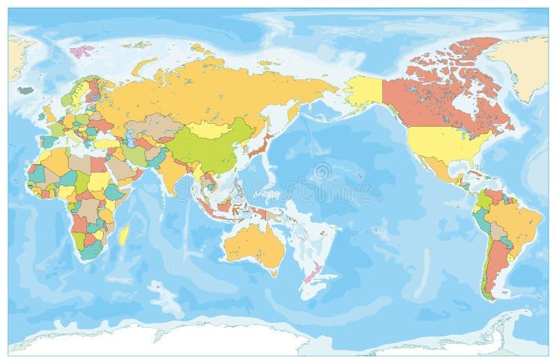 Κεντροθετημένος ο Ειρηνικός χρωματισμένος κόσμος χάρτης και Bathymetry κανένα κείμενο διανυσματική απεικόνιση