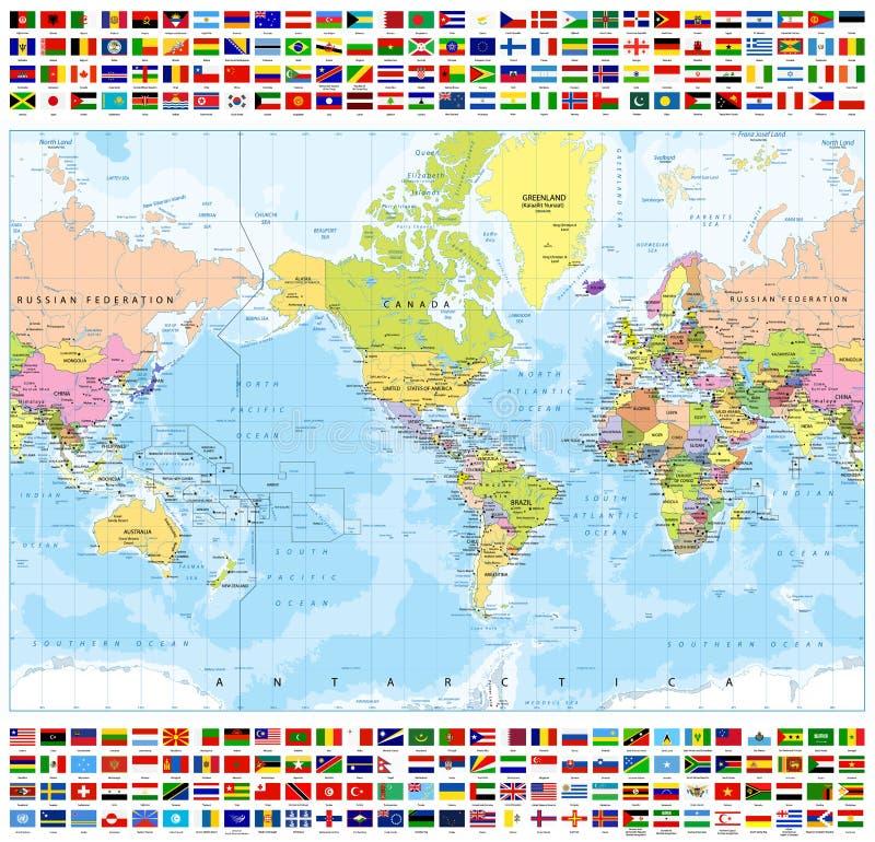 Κεντροθετημένος πολιτικός παγκόσμιος χάρτης της Αμερικής και όλες οι σημαίες παγκόσμιας χώρας απεικόνιση αποθεμάτων
