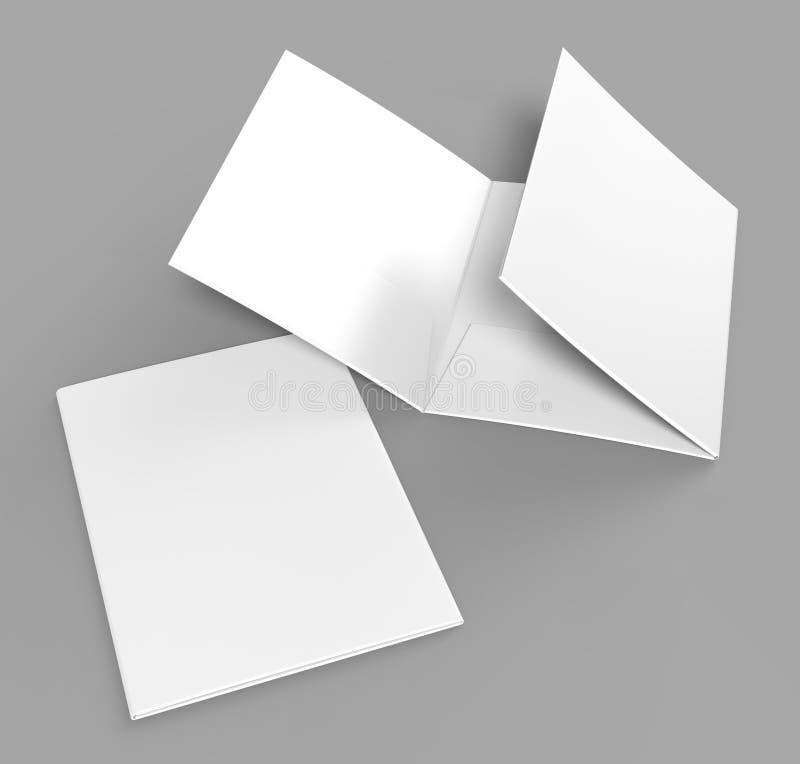 Κενός άσπρος ενισχυμένος A4 ενιαίος κατάλογος φακέλλων τσεπών Trifold στο γκρίζο υπόβαθρο για τη χλεύη επάνω τρισδιάστατη απόδοση διανυσματική απεικόνιση