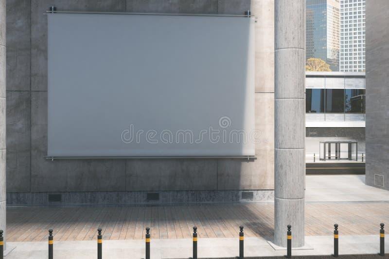 Κενός άσπρος πίνακας διαφημίσεων, πρωινός απεικόνιση αποθεμάτων