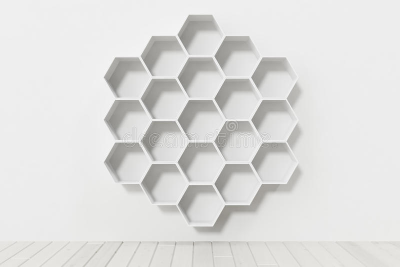 Κενός άσπρος τοίχος με τα hexagon ράφια στον τοίχο, τρισδιάστατη απόδοση στοκ εικόνα