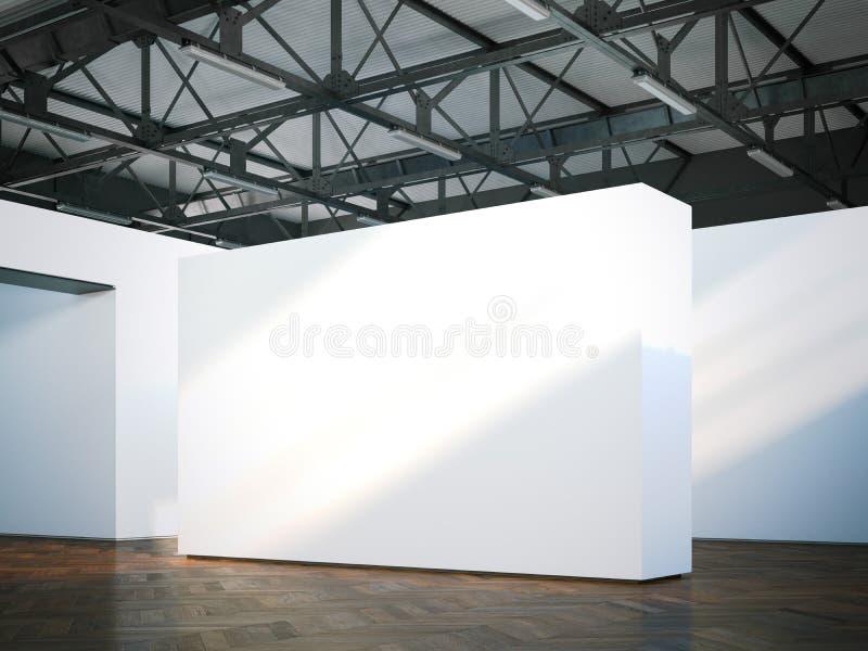 Κενός άσπρος τοίχος στο σύγχρονο μουσείο τρισδιάστατη απόδοση στοκ εικόνα