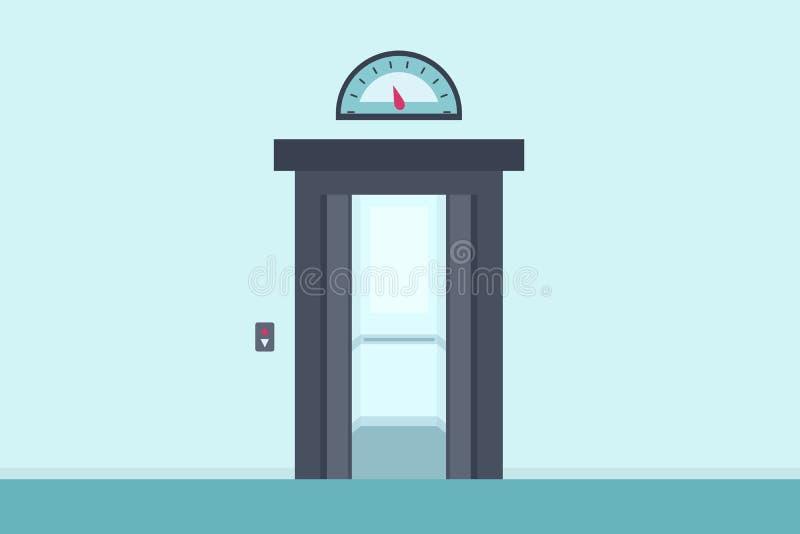 Κενός ανελκυστήρας με τις ανοιχτές πόρτες διανυσματική απεικόνιση