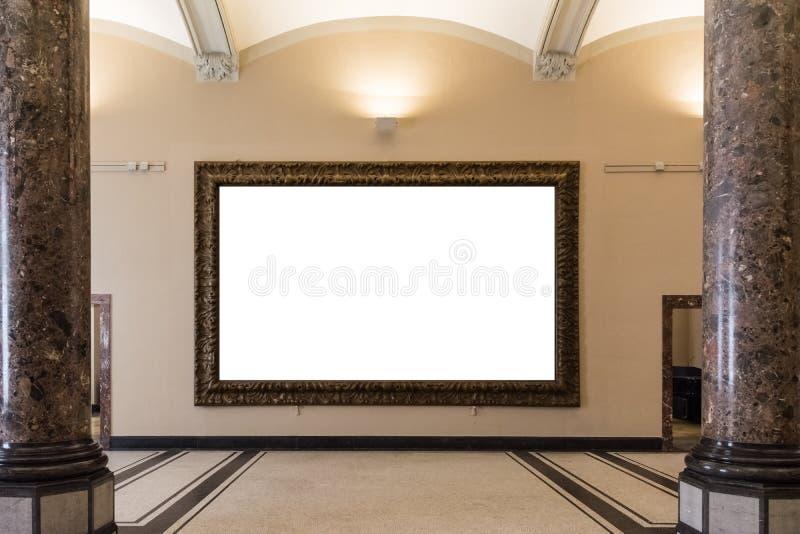 Κενός απομονωμένος Μουσείο Τέχνης τοίχος διακοσμήσεων πλαισίων ζωγραφικής στο εσωτερικό απεικόνιση αποθεμάτων