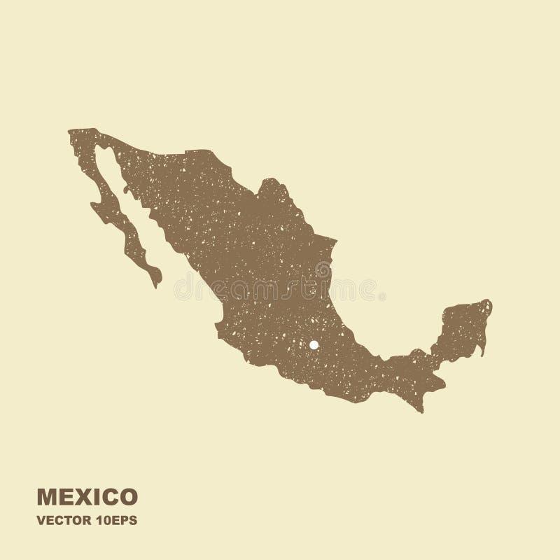 Κενός γκρίζος παρόμοιος χάρτης του Μεξικού με τη γρατζουνισμένη επίδραση διανυσματική απεικόνιση