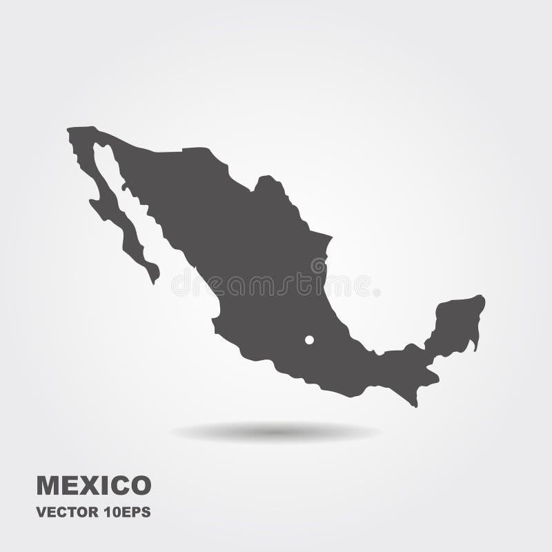 Κενός γκρίζος παρόμοιος χάρτης του Μεξικού που απομονώνεται στο άσπρο υπόβαθρο διανυσματική απεικόνιση