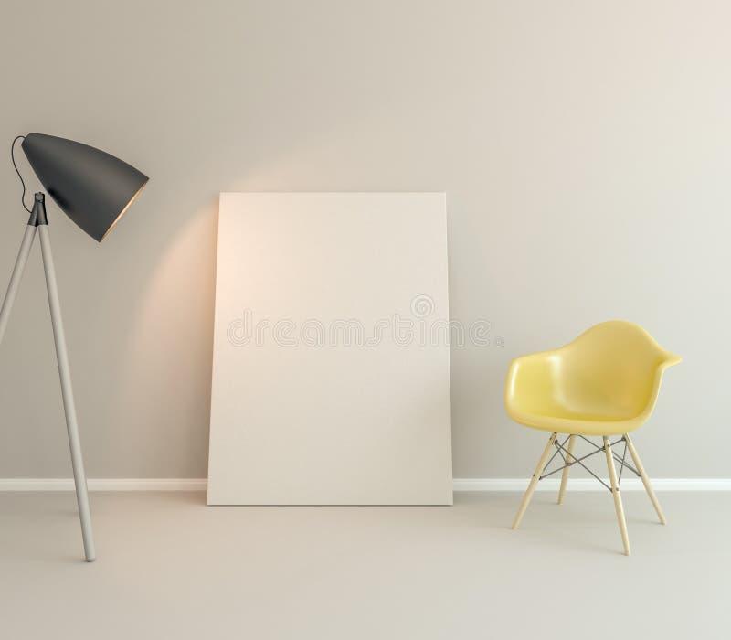 Κενός καμβάς στην άσπρη χλεύη τοίχων επάνω στοκ φωτογραφίες
