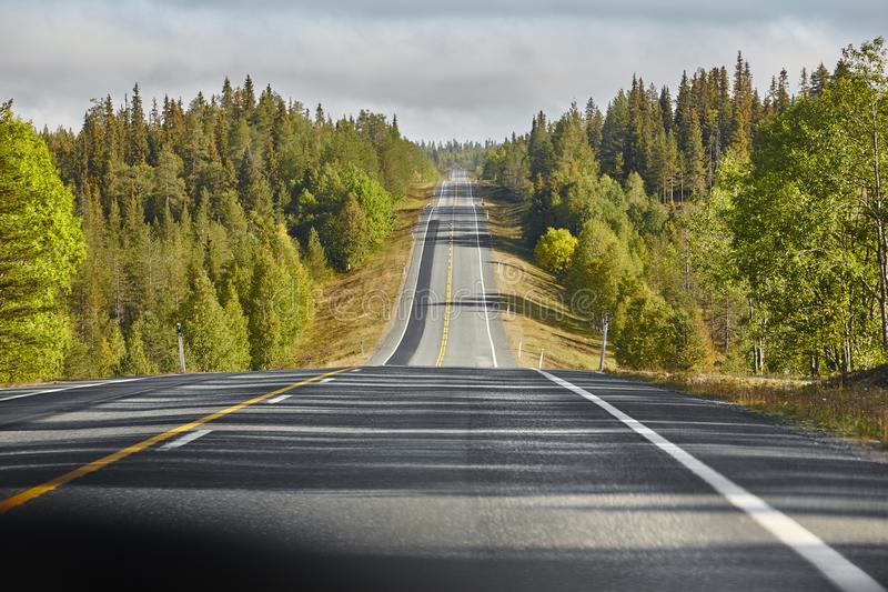 Κενός κυματιστός δρόμος που περιβάλλεται από το δάσος στη Φινλανδία Ταξίδι στοκ φωτογραφία