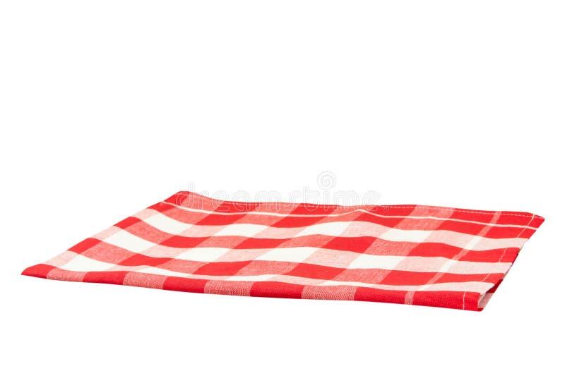 Κενός κόκκινος άσπρος ελεγμένος τραπεζομάντιλων που απομονώνεται στο άσπρο backgroun στοκ εικόνα