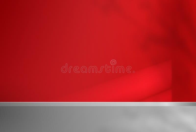 Κενός κόκκινος τοίχος δωματίων και διαστημική απεικόνιση τέχνης αντιγράφων διανυσματική απεικόνιση